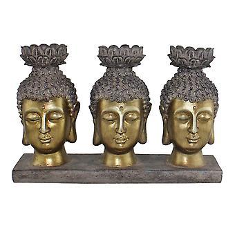 Triple Candle Holder, Buddha Design