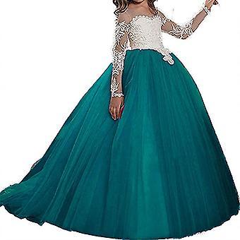 Пухлый тюль кружева Бальное платье Бант Принцесса Длинные платья