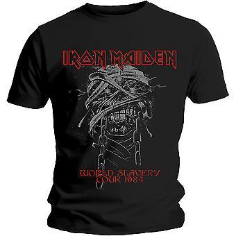 Iron Maiden - World Slavery 1984 Tour Heren Groot T-Shirt - Zwart