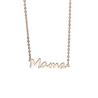 Mama Necklace Stainless Steel Neck Chain Link Mothers Day Gift Mom Neck Decoration(Rose Gold)