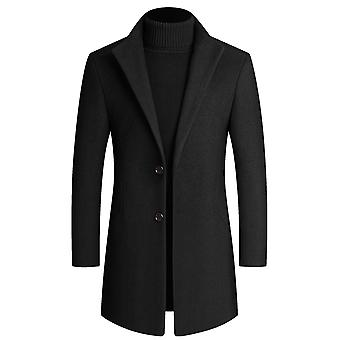 Yunyun Men's Casual Lapel Solid Color Two-button Mid-length Overcoat