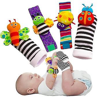 Aranyos állat puha baba zokni játékok csukló csörgők és láb keresők a fun pillangók és Lady Bugs
