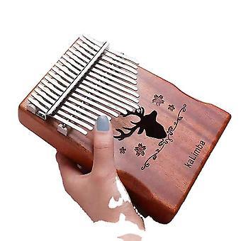 17 teclas Kalimba Thumb Piano Deer Head Hollow Instrumento Musical Para Iniciantes