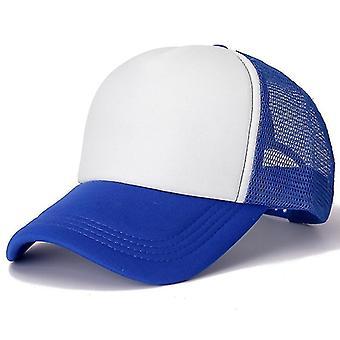 Bărbați și bărbați Femei Plain Mesh Baseball Cap, reglabil Snapback Hats (Albastru Alb)