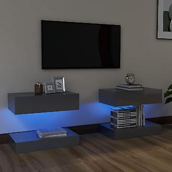 vidaXL TV-kaapit LED-valoilla 2 kpl. korkeakiiltoinen harmaa 60x35 cm