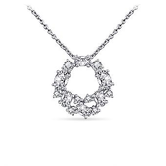 Bijoux Gisser - Pendentif incl. Collier - Circle Set with Oval and Round Zirconia Stones - 18mmØ - Longueur 42+5cm - Gerhodineerd Zilver 925