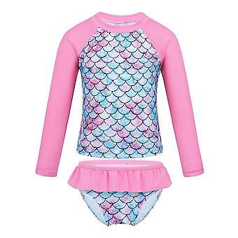 Bebé manga larga pescado escala patrón traje de baño rosa 3Years edad