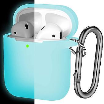 Vedenpitävä suojakansi avainnipulla, yhteensopiva Apple Airpods 2:n kanssa & 1, Nightglow Sininen(07)