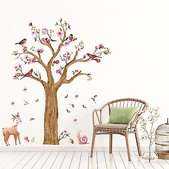 Forest Tree Birds Wall Sticker Bedroom Home Tv Wall Decor Decal Mural
