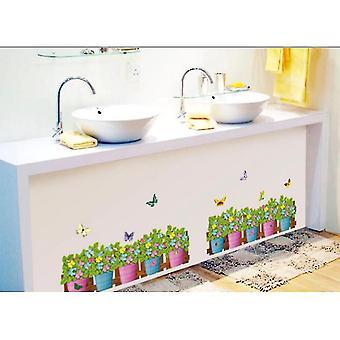 2 stuks bloempotten hek muur hoek stickers voor keuken slaapkamer verwijderbare zelfklevende plint