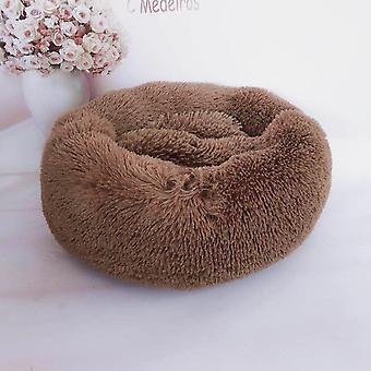 (Kaffee) Haustier bett,Hund Katze Rund Warm Kuschelzwinger Soft Welpen Sofa Kissen Außendurchmesser 40 cm