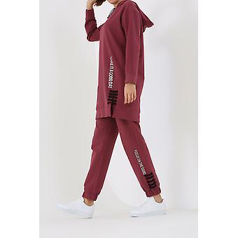 Printed Hooded Sweatshirt And Jogger Pants Tracksuit