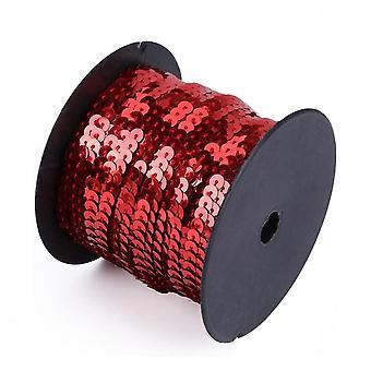 Paillettes 6mm Spangle Trim Spool String 100 Yards Roll Pour l'artisanat, accessoires de costume et bandeau, rouge