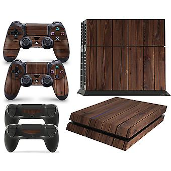 GNG PS4 Console WOOD Skin Decal Mahogany Vinal Sticker + 2 Controller Skins Set