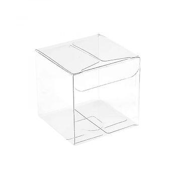 Läpinäkyvä lahjalaatikko valkoisella nauhalla Muovinen lahjalaatikko Läpinäkyvä Candy Cookie Box