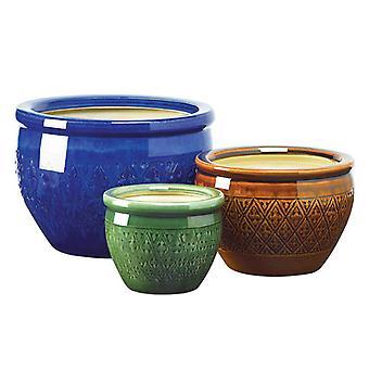 Summerfield Terrace Embossed Jewel Tone Ceramic Planter Set, Pack of 1