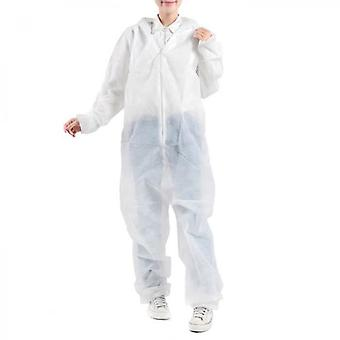 10 Pcs Coverall Disposable Non-woven Protective Hooded Workwear