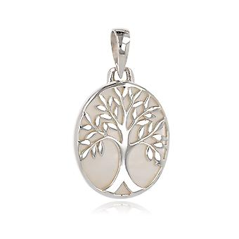 ADEN 925 Sterling Silver White Parel Tree of Life Oval Shape Hanger Ketting (id 4173)