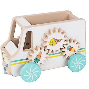Wooden blocks wooden ice cream cart pretend play toy kids pull rope drag car toys colourful children puzzle