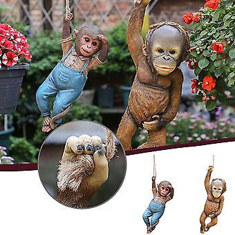 Harz Kletteraffe, Hängende Harz Affen Statue, Garten Tier Statue, 2pcs GartenDekoration