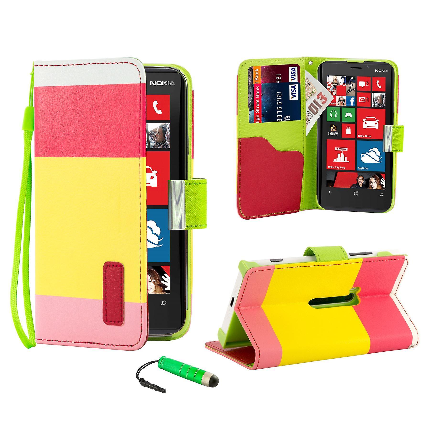 Multiple Stripe wallet case + stylus for Nokia Lumia 920 - Hot Pink