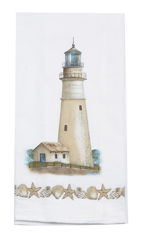 Kay Dee Coastal Lighthouse with Seashell Border Flour Sack Kitchen Dish Towel