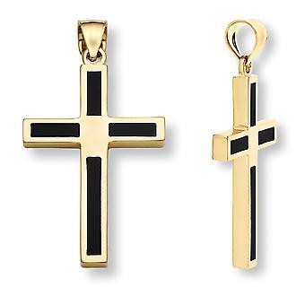 14K Gold Onyx Cross Pendant for Men