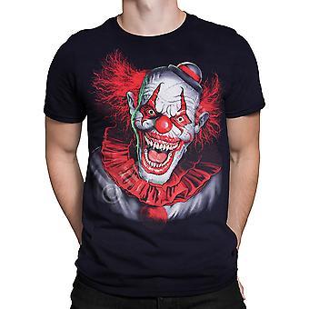 Vloeibare blauw-eng clown-t-shirt korte mouw-zwart