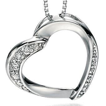 925 zilveren Zirkonia hart ketting modieuze