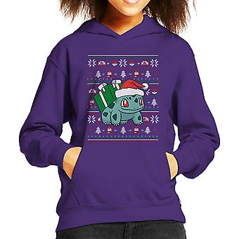 Christmas Bulbasaur Knit Pattern Pokemon Kid's Hooded Sweatshirt