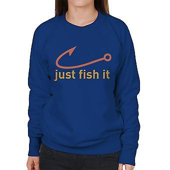 Sólo de pescado Nike Logo amarillo sudadera mujer