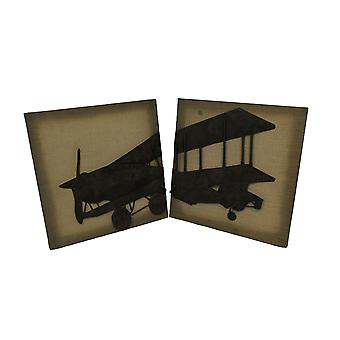 2 Piece Metal Vintage Airplane On Fabric Wall Hanging Set