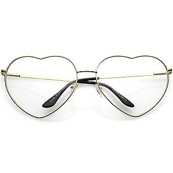 Ylikoko metalli sydämen muotoinen silmälasit selkeä linssi 71mm