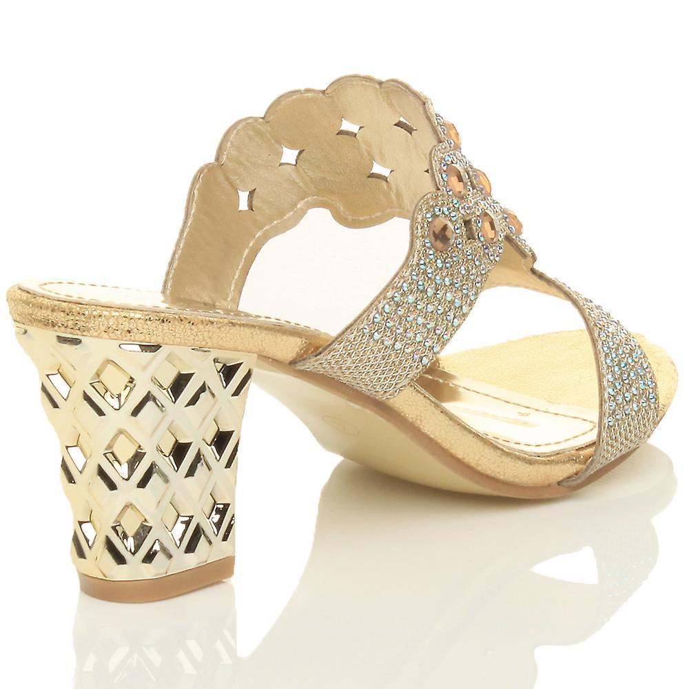 Womens Ajvani milieu bloc haut talon prom diamante soirée glisser sur sandales mules - Remise particulière