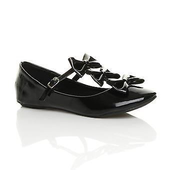 Ajvani kvinners mary jane trippel bue t-bøylen ballerina ballett leiligheter dolly sko