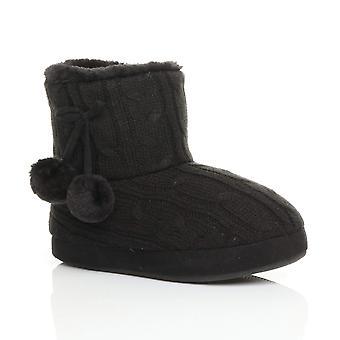 Ajvani dame vinter pom pom pels foret komfort strikkede ankel sko støvler støvletter