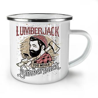 Once You Lumberjack NEW WhiteTea Coffee Enamel Mug10 oz | Wellcoda