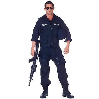 SWAT S.W.A.T. Deluxe Military Police Cop Commander Uniform Men Costume Plus XXL