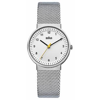 Braun Ladies | Stainless Steel Mesh Strap | White Dial | BN0031WHSLMHL Watch