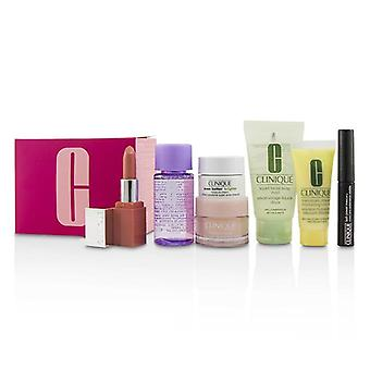 Clinique Travel Set: M/u Remover 30ml-facial Soup 30ml-umidità Surge 15ml-ddml 15ml - Crema di umidità 7ml-mascara 2.5ml-lip Colore 2.3g - 7pcs