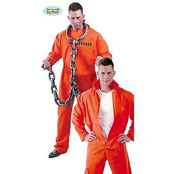 Prisioneiro traje macacão prisioneiro carnaval condenado prisão terno laranja