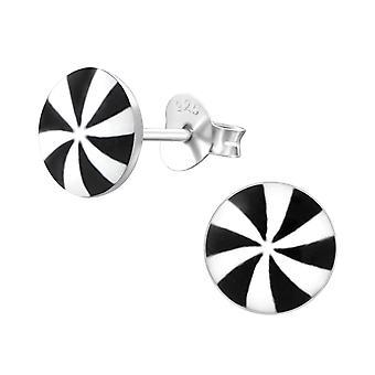 Black stripped umbrella - 925 Sterling Silver Colourful Ear Studs - W19741X