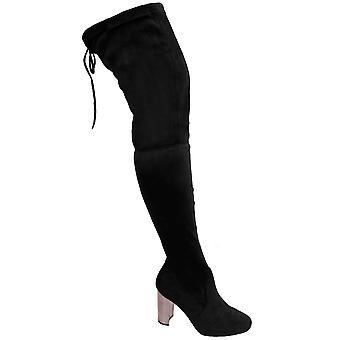 Ladies låret hög över knä mocka Chunky Block metalliskt glänsande klack stövlar