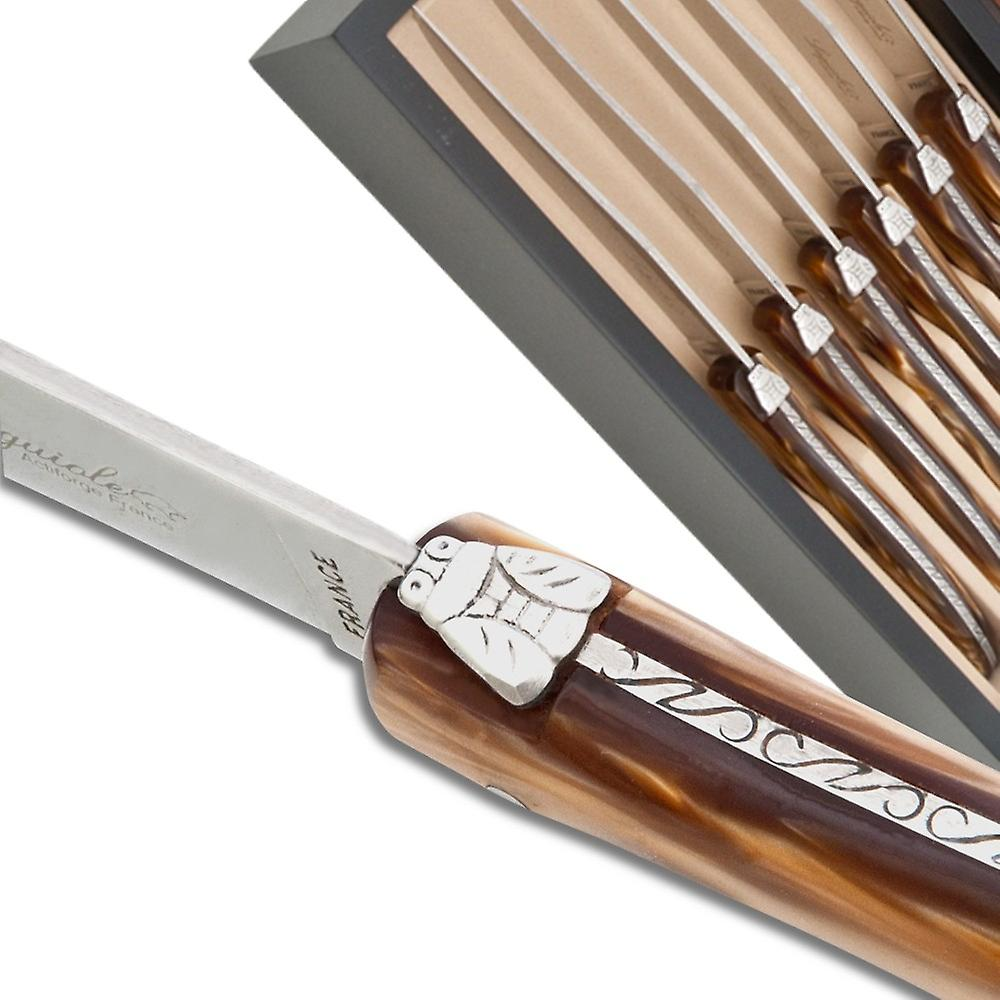 Set of 6 Laguiole steak knives chocolate color plexiglass handles Direct from France