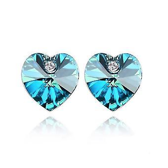 Österrikiska Crystal blå hjärtformade element örhängen