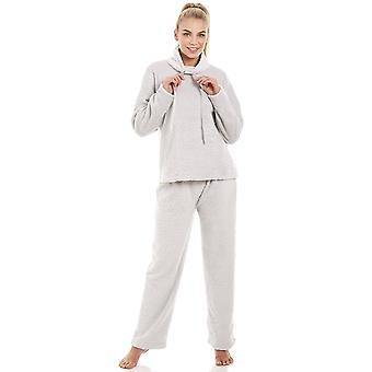 Camille Womens Supersoft Fleece leichte graue Pyjama-Set
