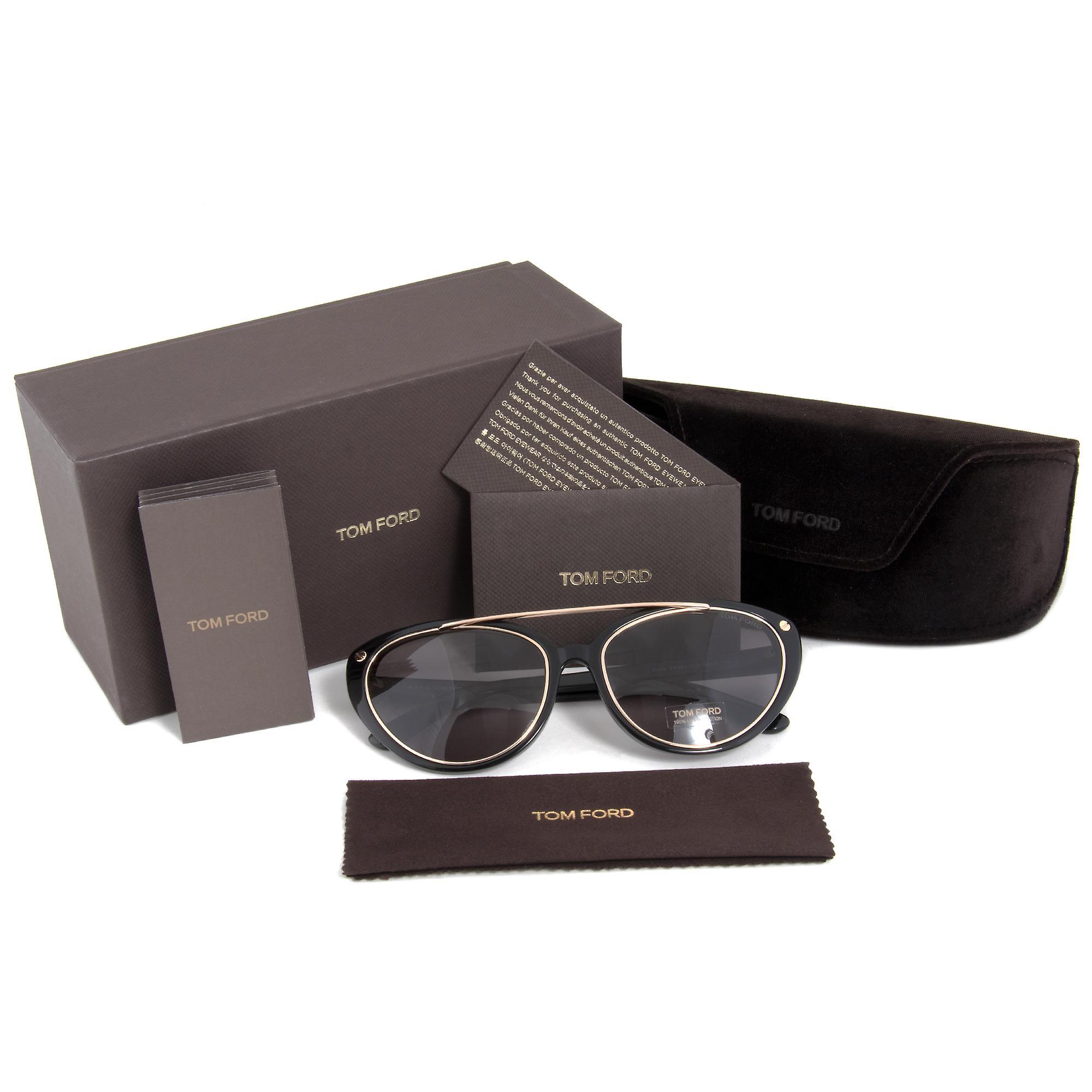 Tom Ford Edita Sunglasses FT0384 01A | Black/Gold Frame | Grey Lens