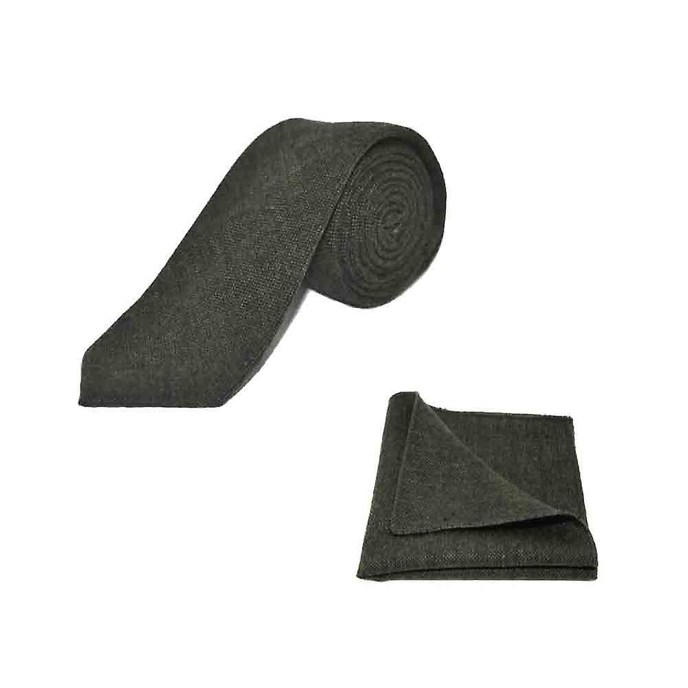 Highland Weave Forest Green Men's Tie & Pocket Square Set | Boxed