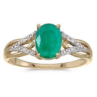 LXR 10k Yellow Gold Oval Emerald and Diamond Ring 0.9ct