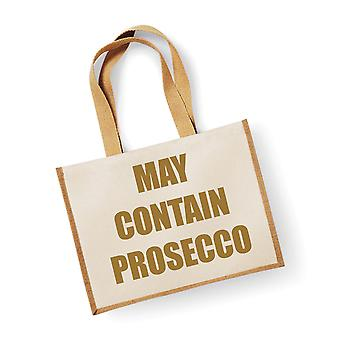 Large Natural Gold Jute Bag May Contain Prosecco